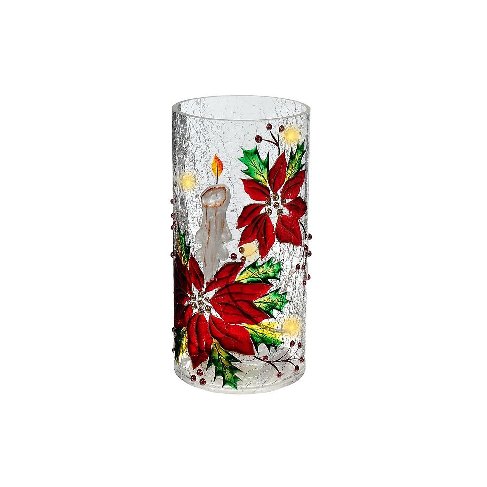 IH Casa Decor Candle & Poinsettia Tall Cylinder Glass Decor With Led