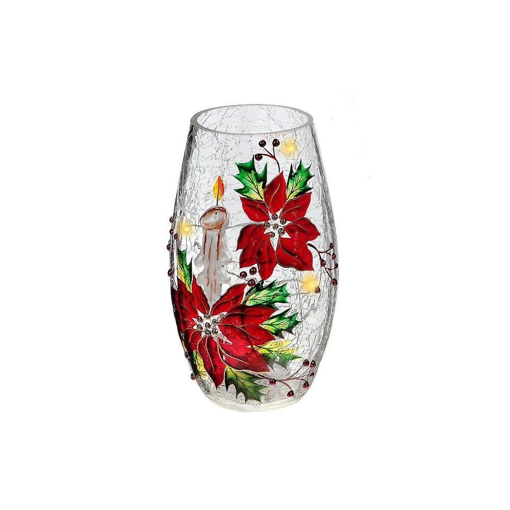 IH Casa Decor Candle & Poinsettia Oblong Glass Decor With Led