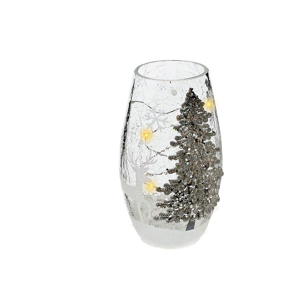 IH Casa Decor Shimmery Tree Oblong Glass Decor With Led