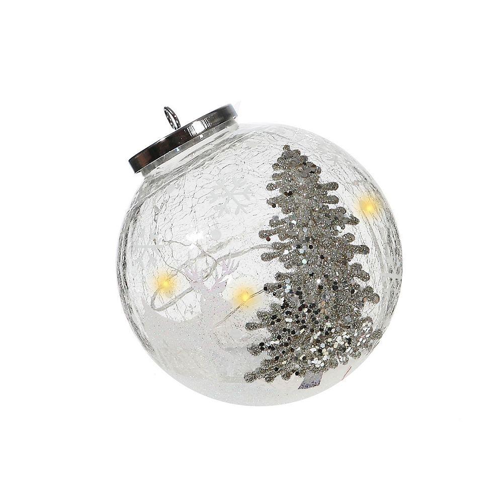 IH Casa Decor Shimmery Tree Glass Ornament Decor With Led