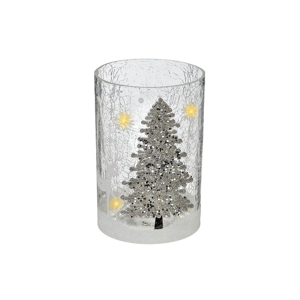 IH Casa Decor Shimmery Tree Tall Cylinder Glass Decor With Led