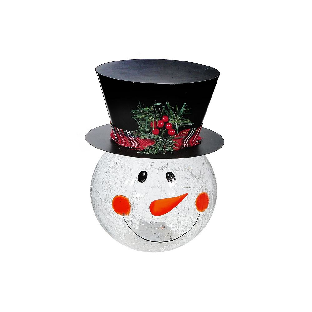 IH Casa Decor Crackled Glass Snowman With Led (Large)