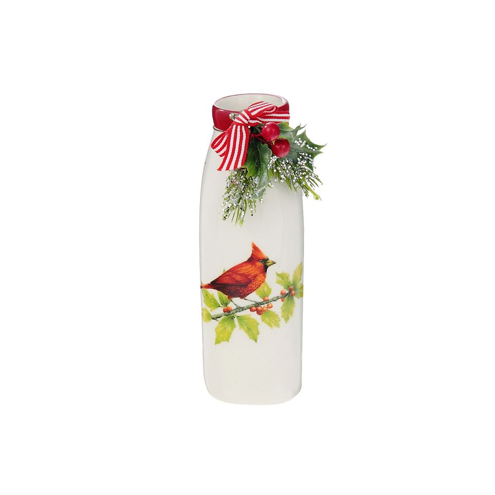 IH Casa Decor Ceramic Bottle With Ribbon (Cardinal)