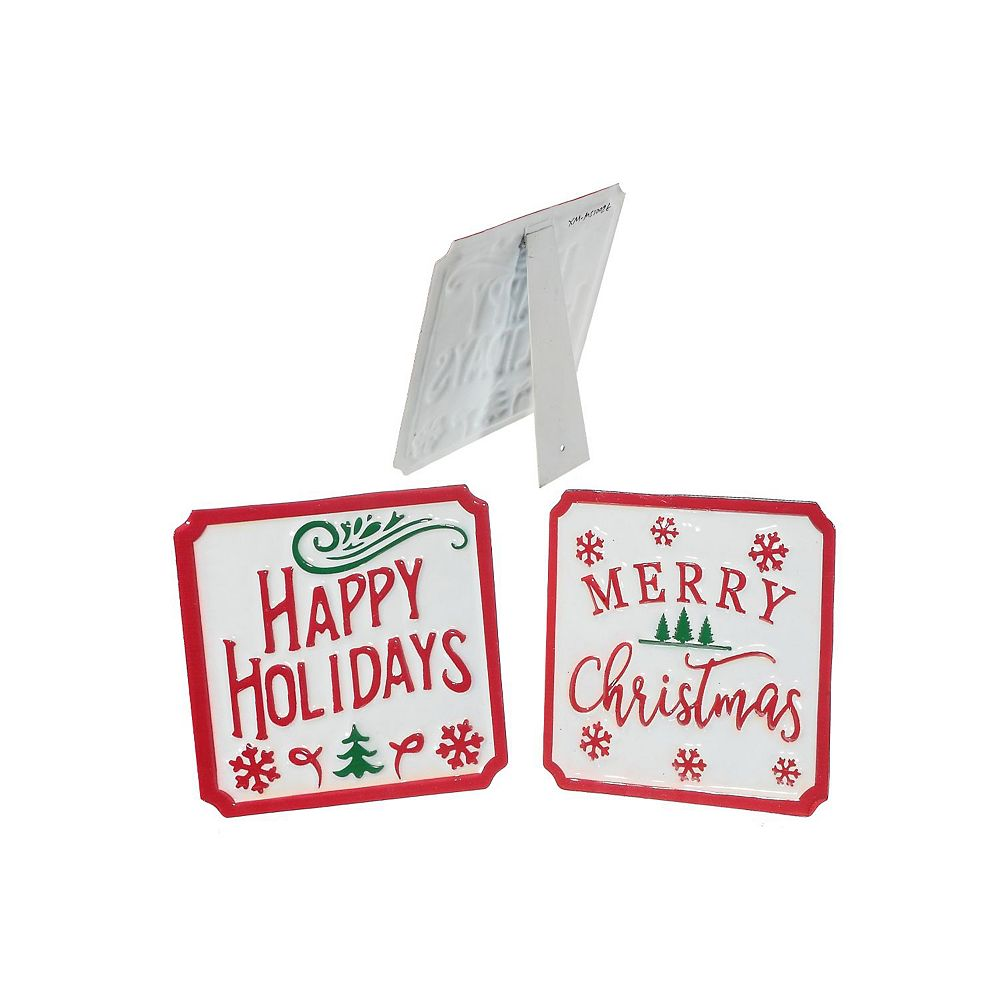 IH Casa Decor Metal Square Holiday Cheer Table Stand (Asstd)