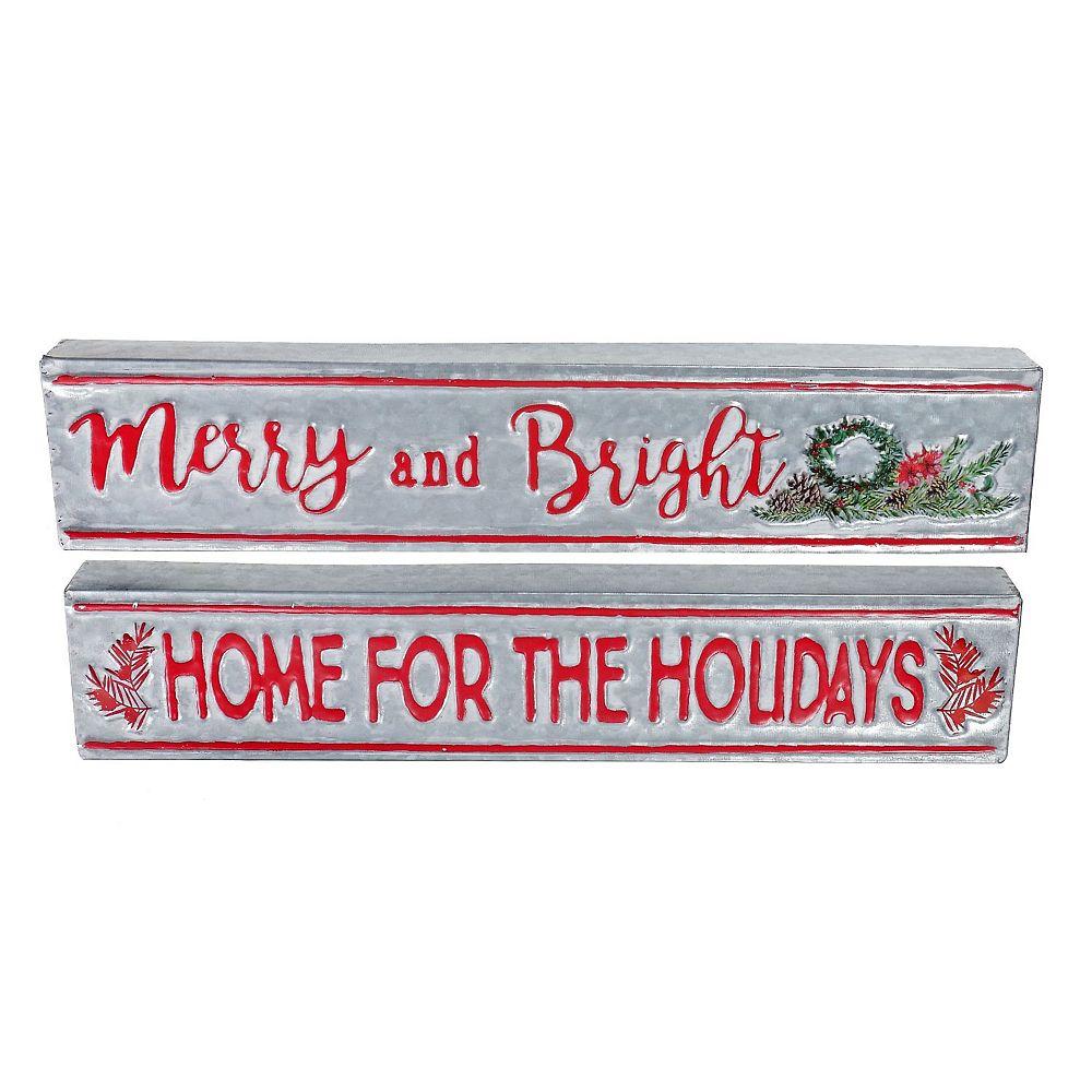 IH Casa Decor Embossed Galvanized Holiday Table Sign (Asstd)