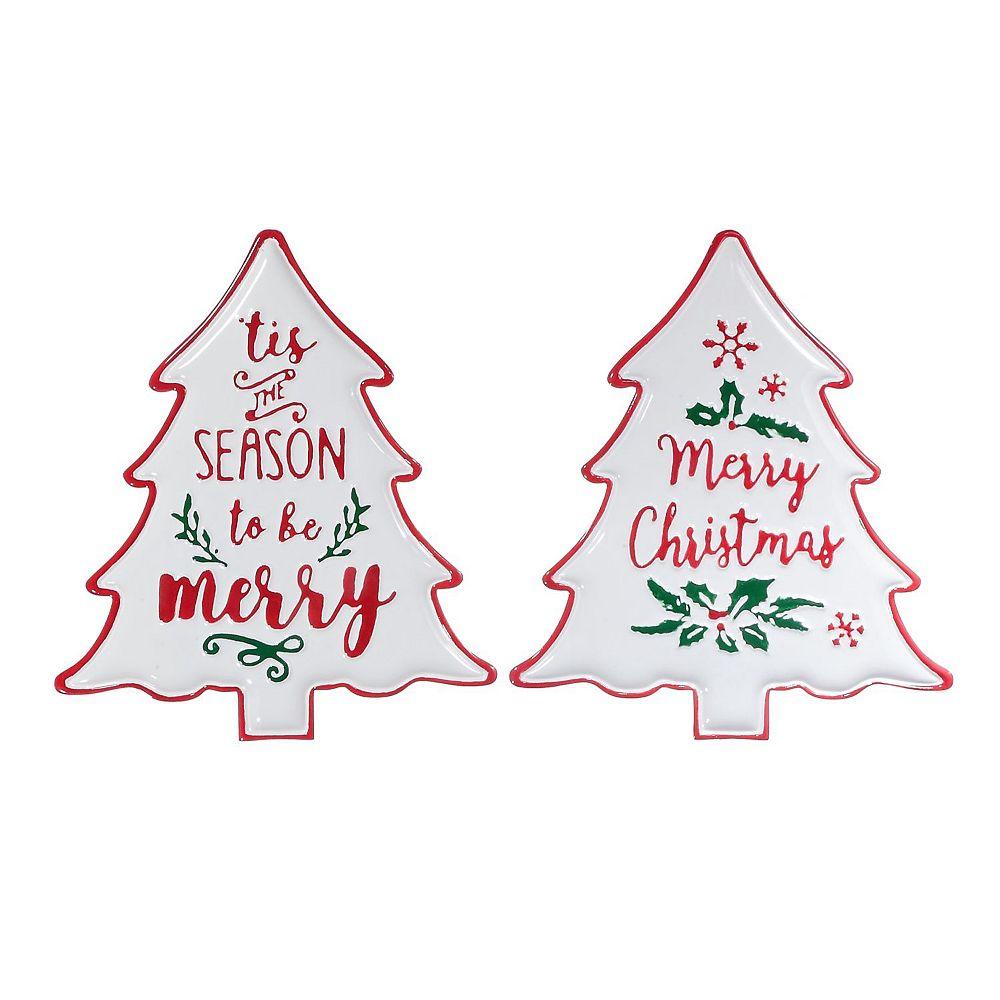 IH Casa Decor Metal Tree Shape Holiday Spirit Wall Sign (Asstd)