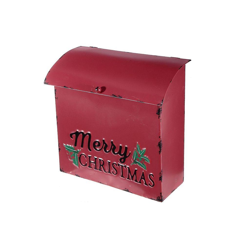 IH Casa Decor Red Metal mailbox (Merry Christmas)