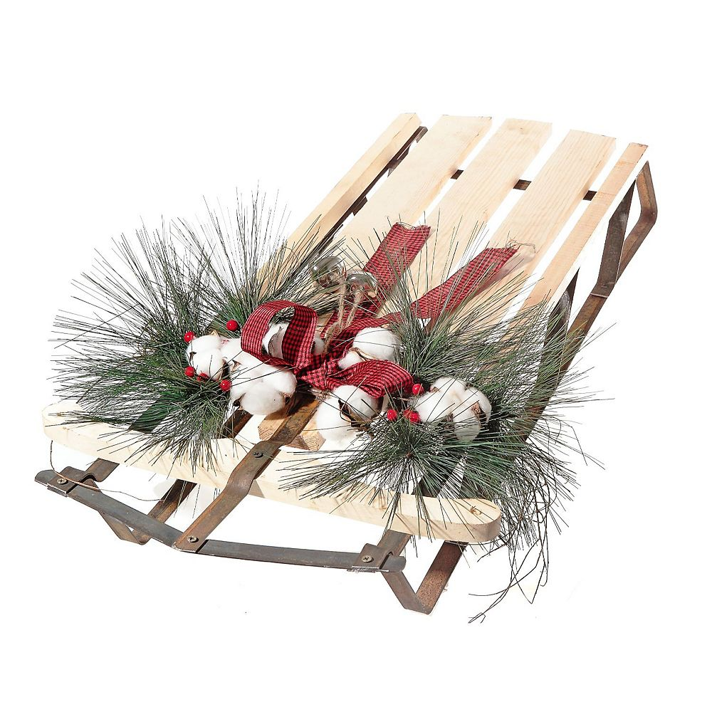 IH Casa Decor Large Wooden Sled With Swag