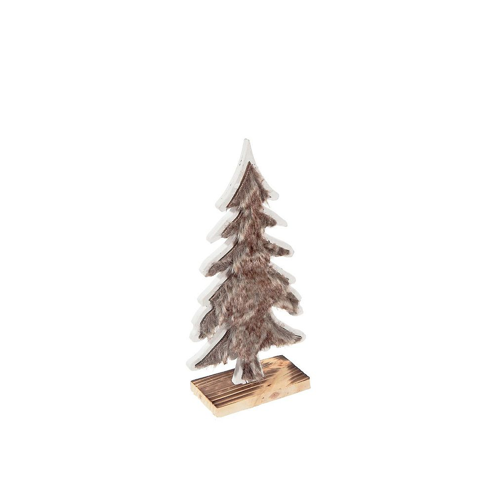IH Casa Decor Brown Fur Covered Flat Tree Stand