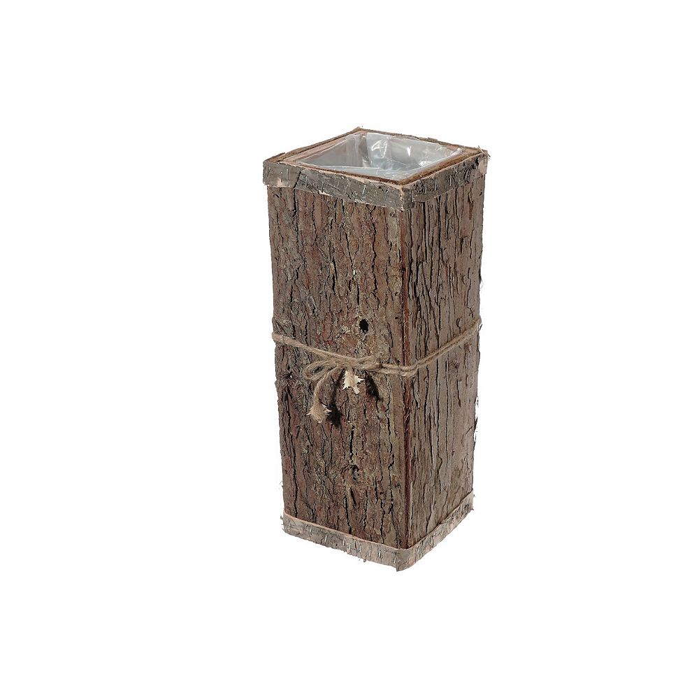 IH Casa Decor Square Wood Bark Tall Planter With Liner (Medium)