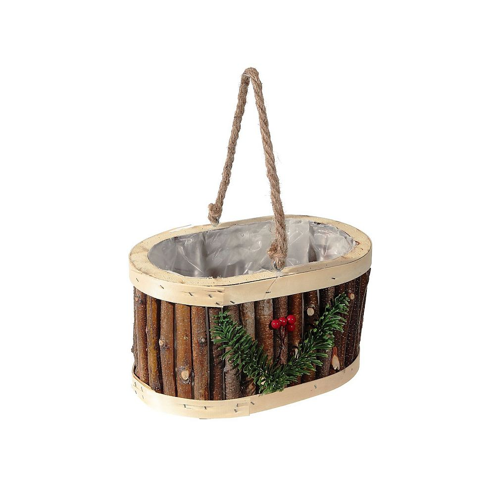 IH Casa Decor Hanging Oval Twig Planter (With Liner)