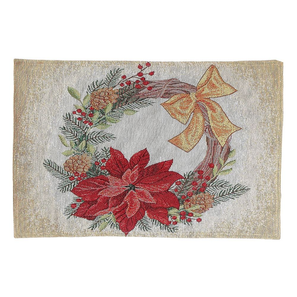 IH Casa Decor Tapestry Placemat (Poinsettia Wreath)
