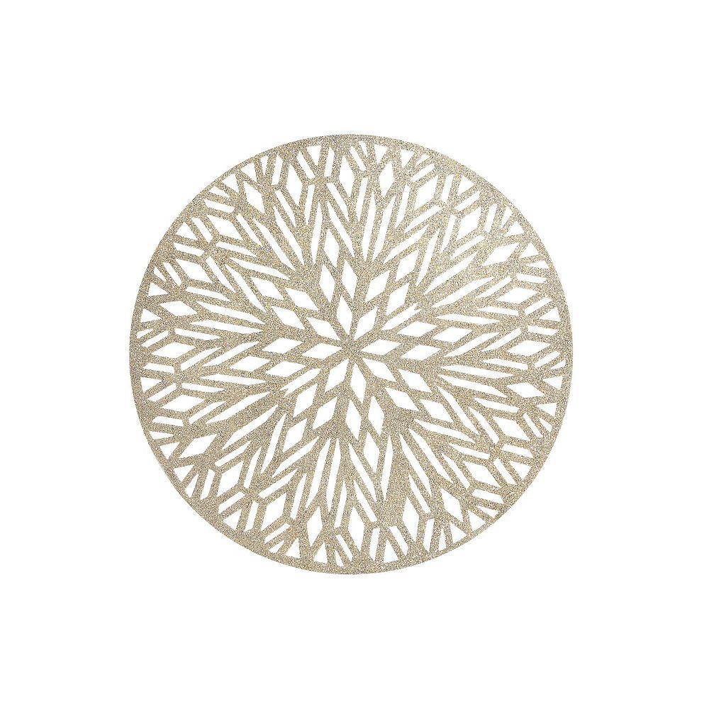 IH Casa Decor Round Pvc Cut Out Placemat With Glitter (Snowflake) (Gold)