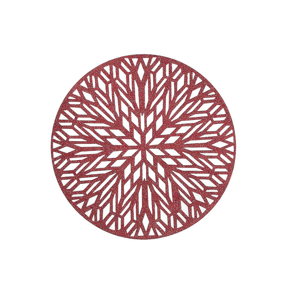 IH Casa Decor Round Pvc Cut Out Placemat With Glitter (Snowflake) (Red)