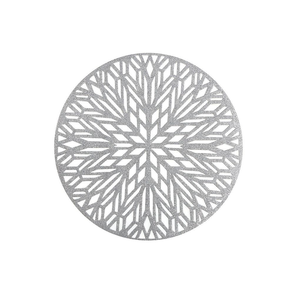 IH Casa Decor Round Pvc Cut Out Placemat With Glitter (Snowflake) (Silver)
