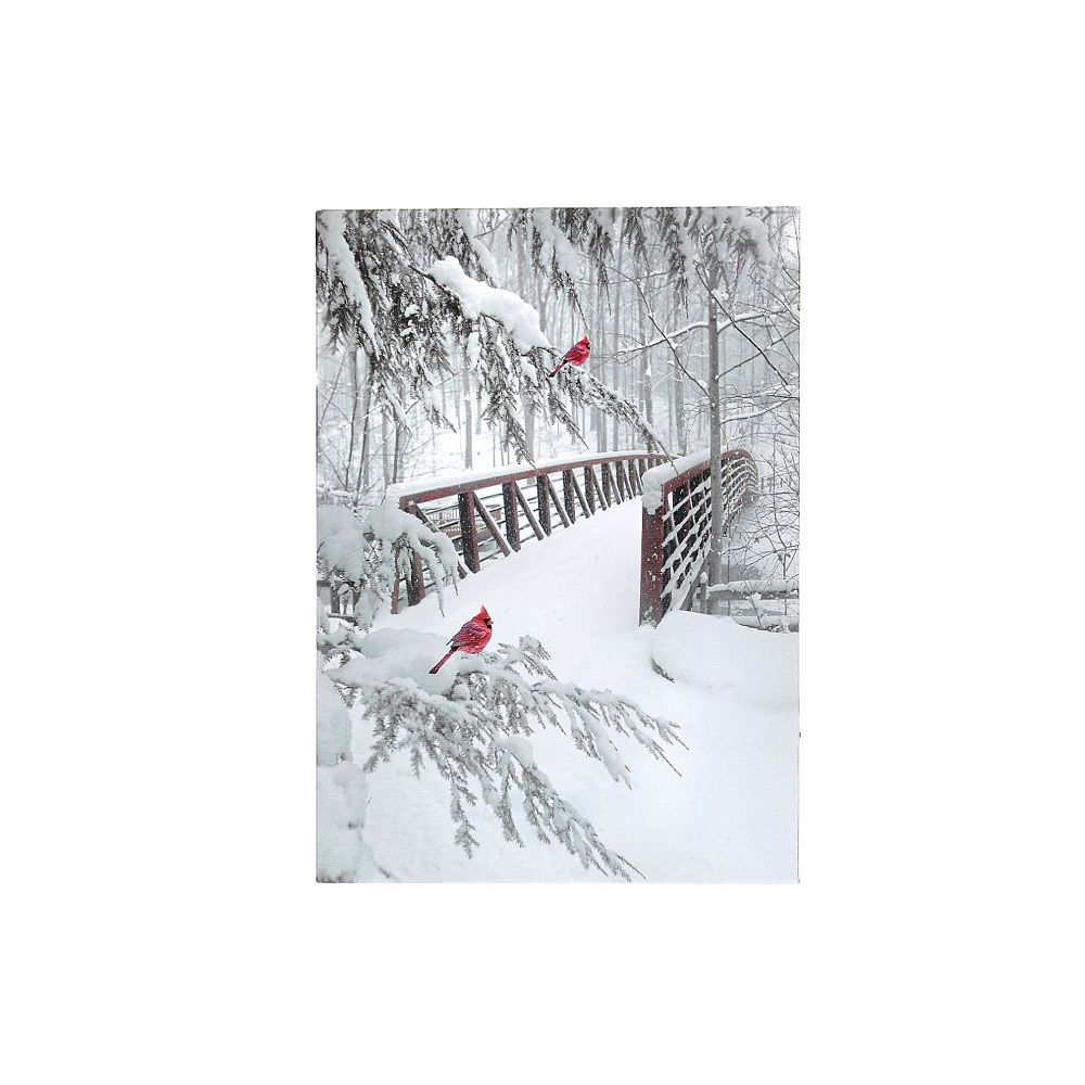 IH Casa Decor Led Canvas Wall Art (Snowy Bridge With Cardinals)