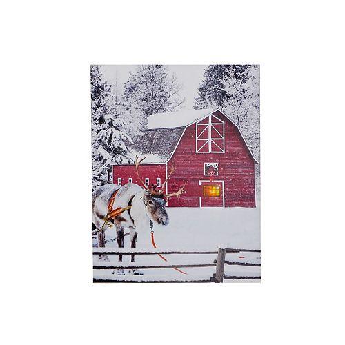 Led Canvas Wall Art (Barn And Reindeer)