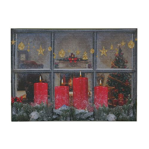 Led Canvas Wall Art (Candles By Window Pane)