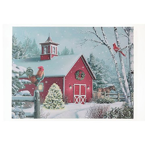 Led Canvas Wall Art (Red Barn)
