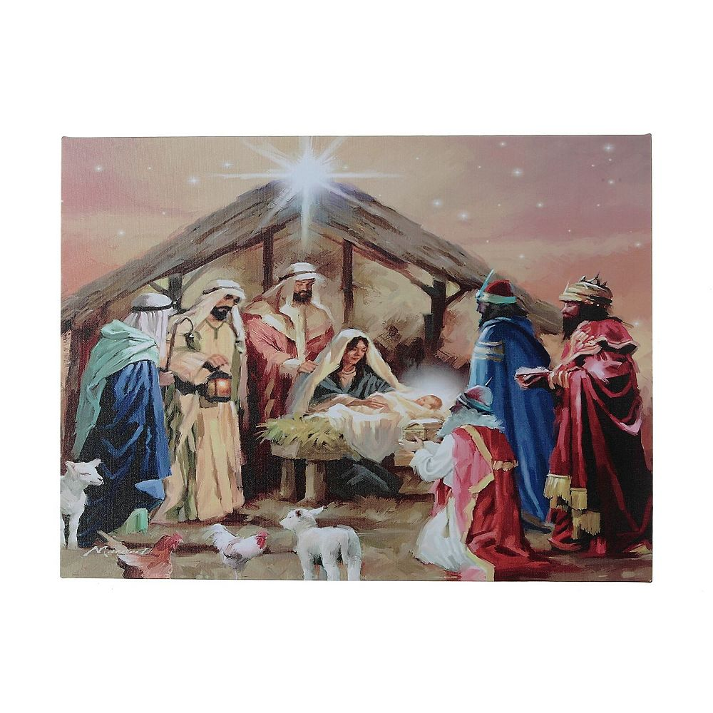 IH Casa Decor Led Canvas Wall Art (Nativity With 3 Wise Men )