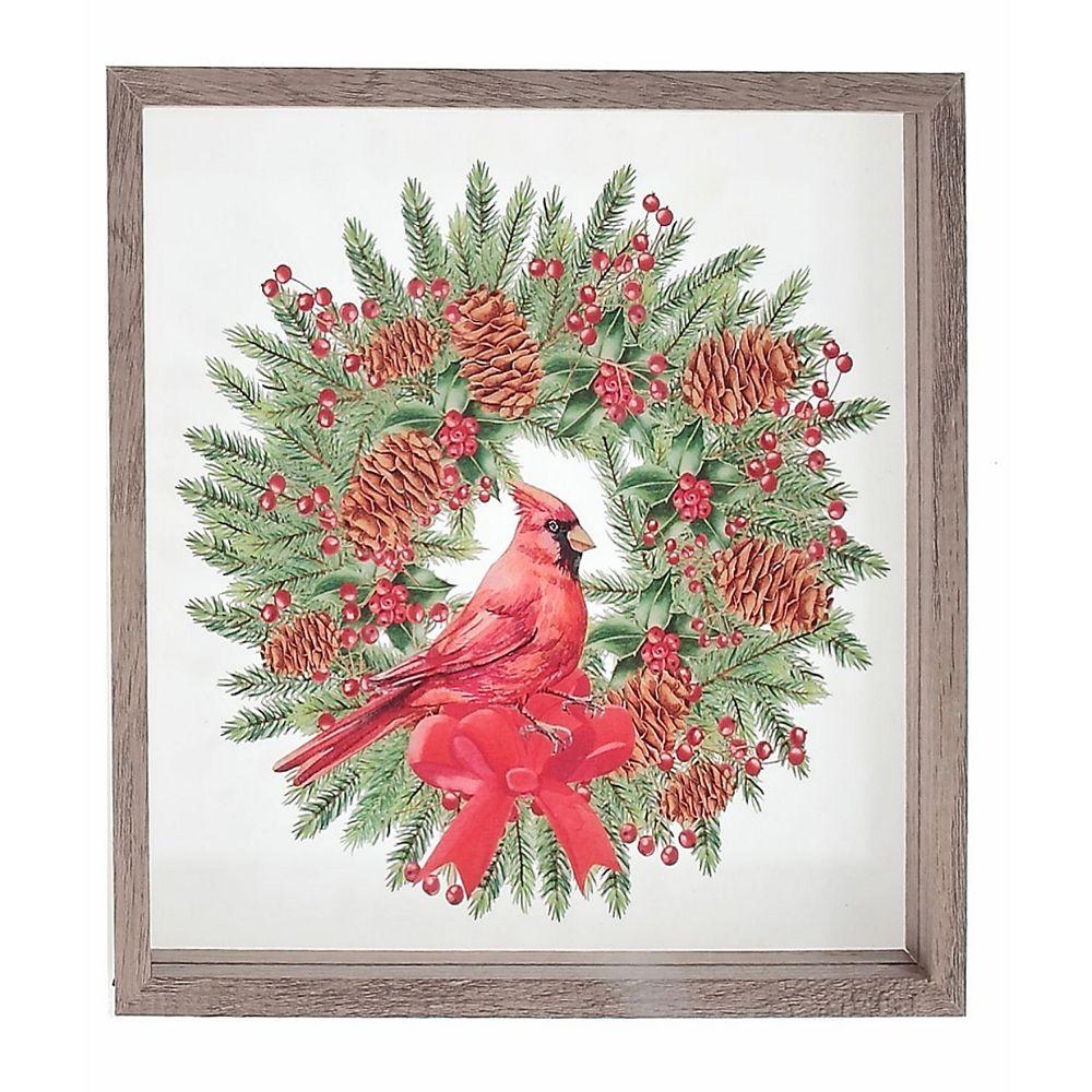 IH Casa Decor Framed Glass Painting (Cardinal Wreath)