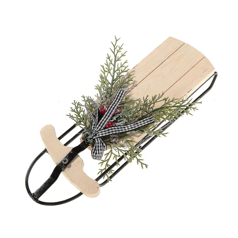 IH Casa Decor Mini Wooden Sled With Bow