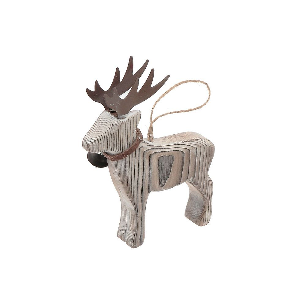 IH Casa Decor Wooden Ornament (Moose With Bell)