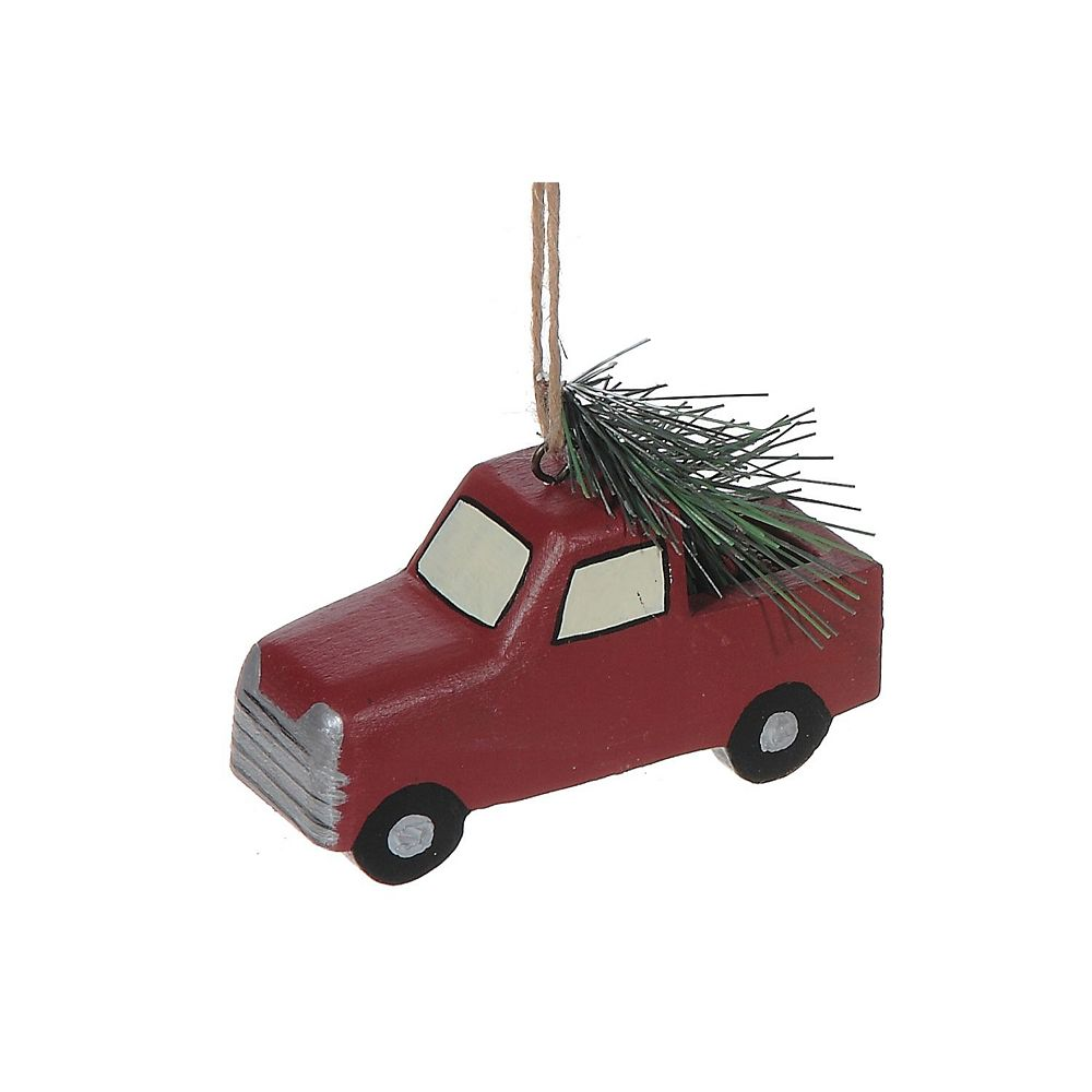 IH Casa Decor Wooden Ornament (Red Truck With Tree)