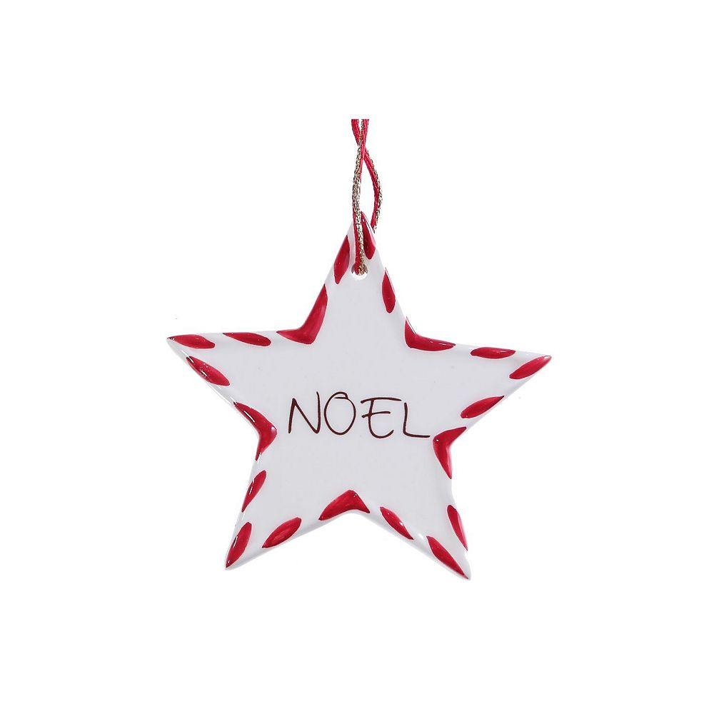 IH Casa Decor Ceramic Candy Cane Star Ornament (Noel)