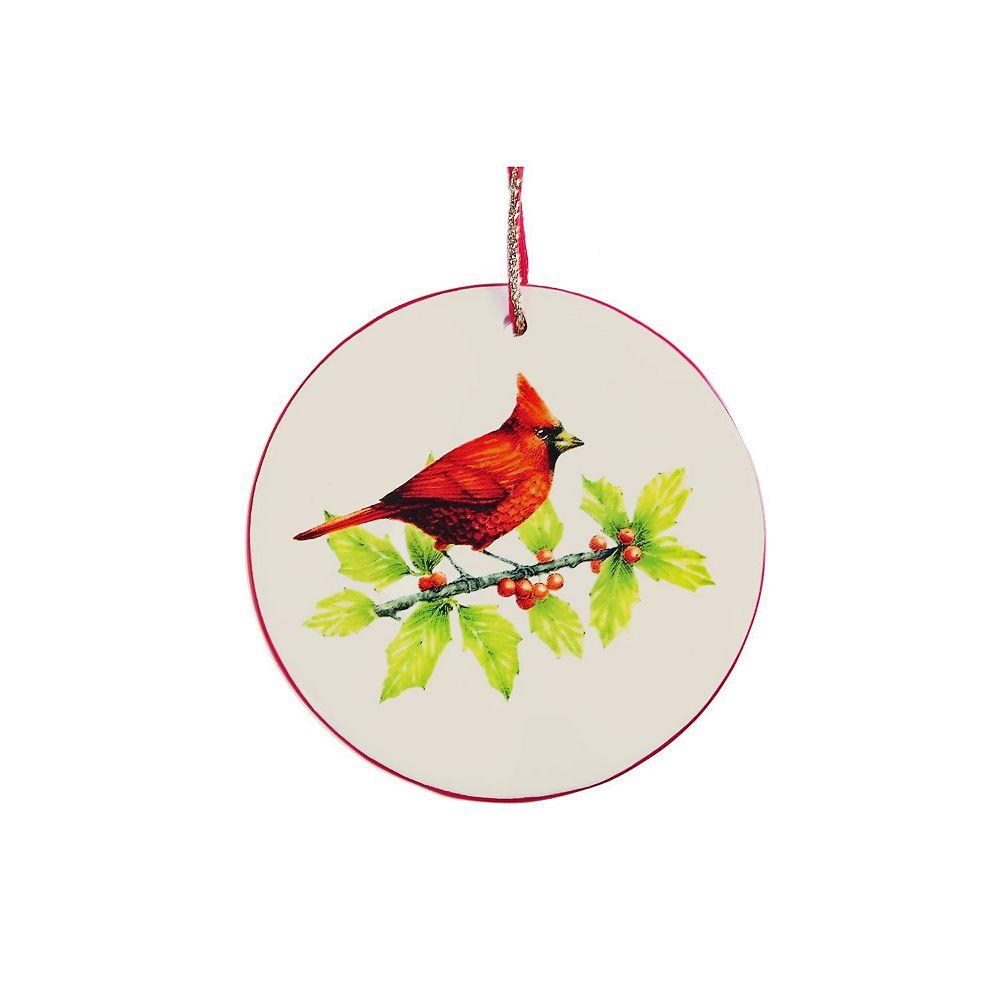 IH Casa Decor Ceramic Flat Round Ornament (Cardinal)