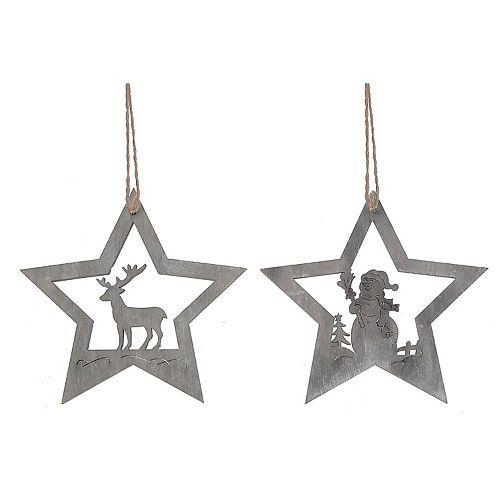Wooden Hanging Snowman/Reindeer In Star Ornament (Asstd)
