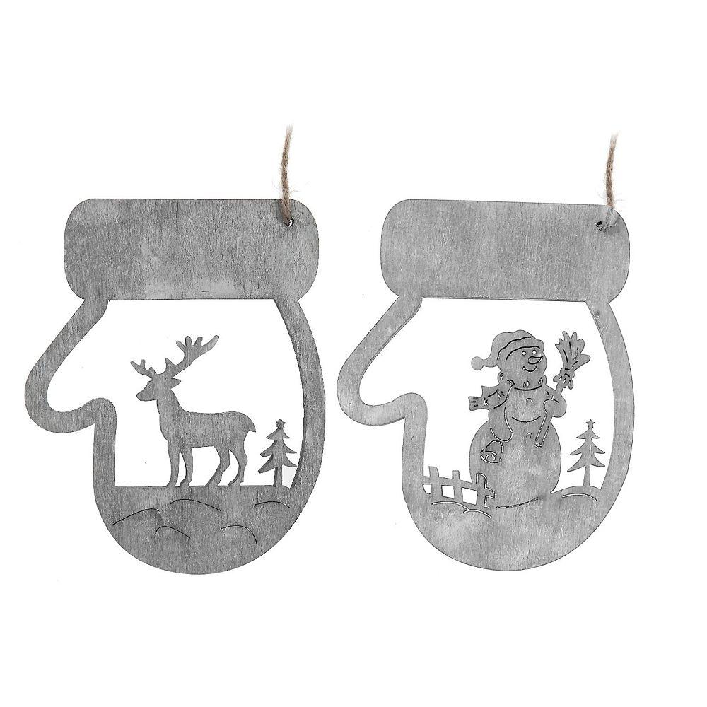 IH Casa Decor Wooden Hanging Snowman/Reindeer In Mitt Ornament (Asstd)