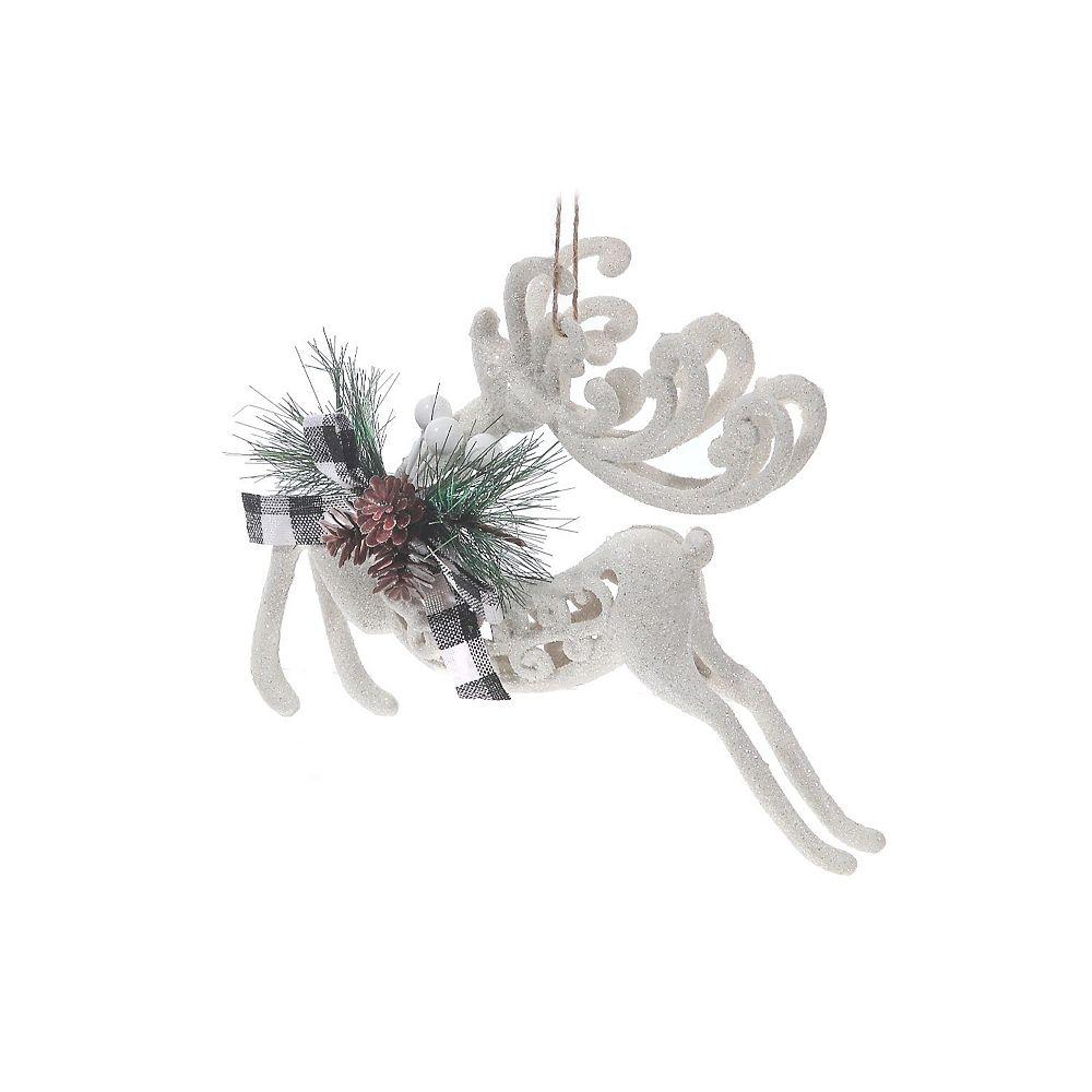IH Casa Decor White Glitter Buffalo Ornament (Reindeer)
