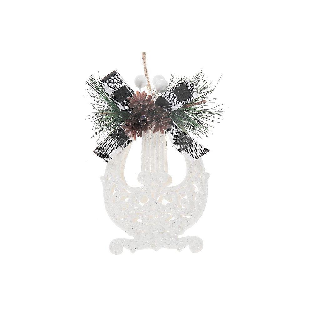 IH Casa Decor White Glitter Buffalo Ornament (Harp)