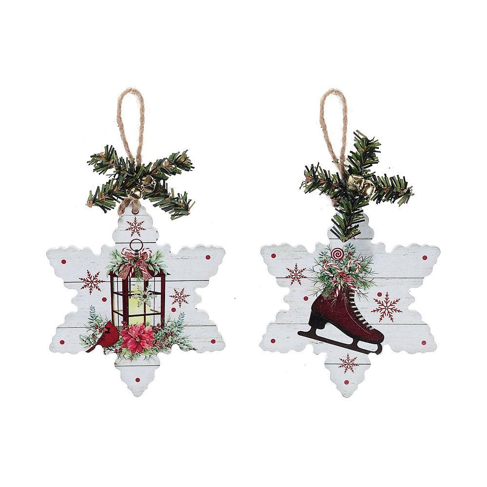 IH Casa Decor Snowflake Shape Wood Ornament (Skates & Lantern) (Asstd)