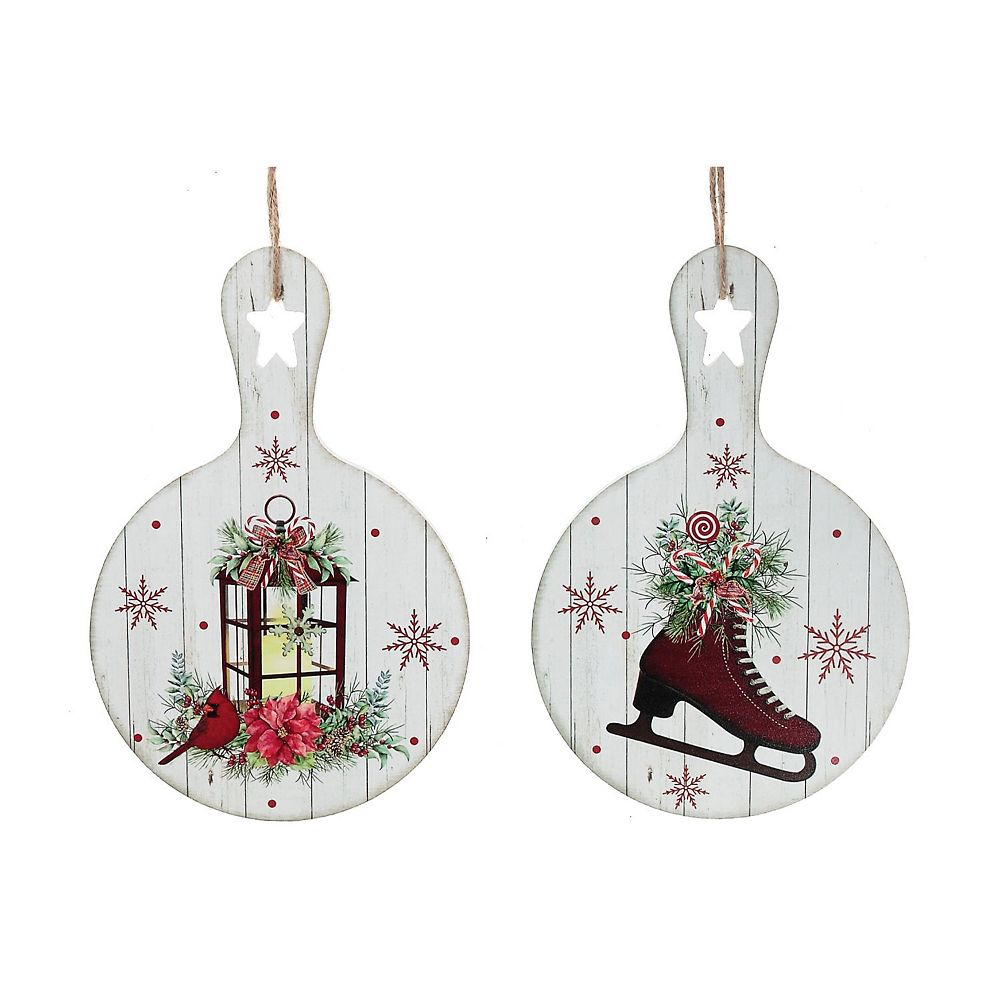 IH Casa Decor Paddle Shape Wood Ornament (Skates & Lantern) (Asstd)