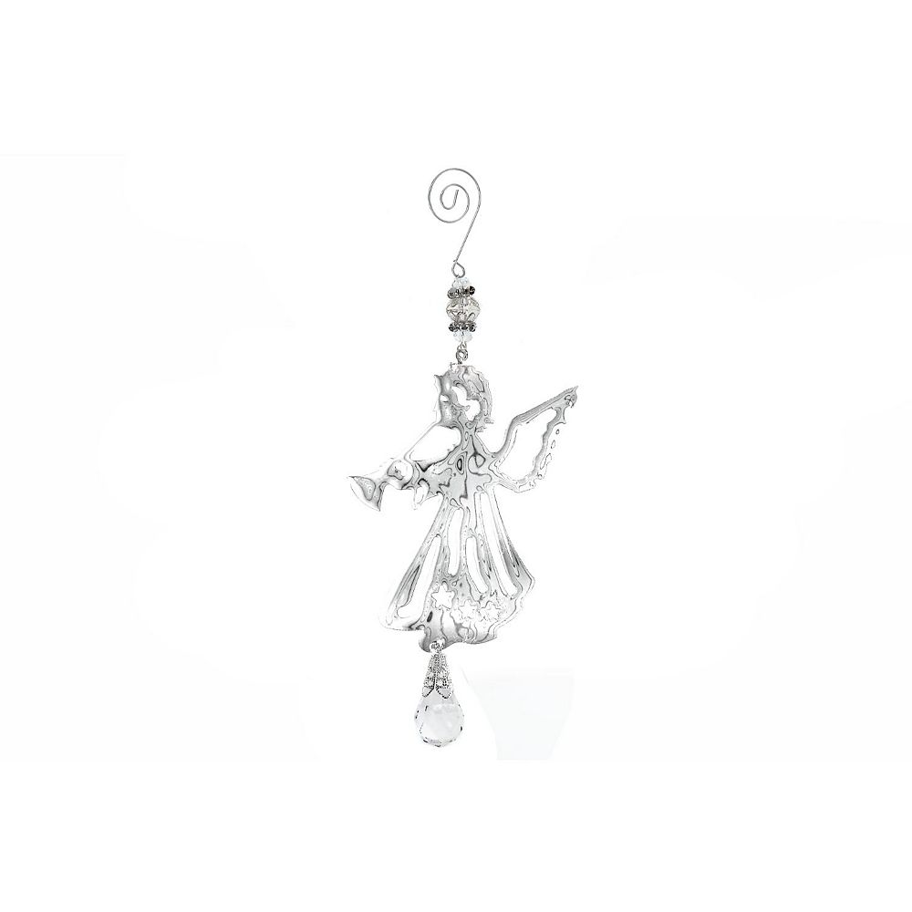IH Casa Decor Flat Silver Metal Ornament (Angel)