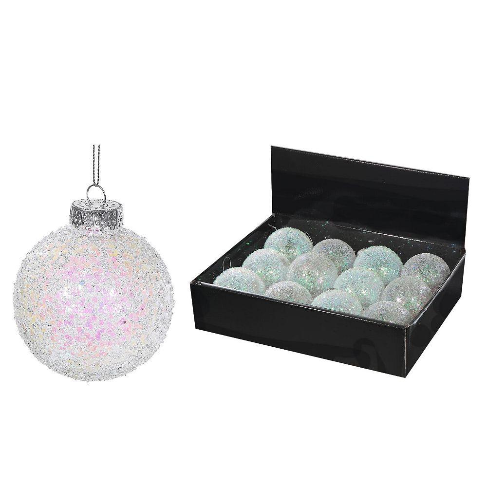 IH Casa Decor Plastic White Glitter Ornament