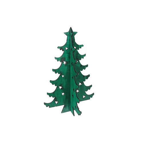 3D Wooden Green Christmas Tree Stand