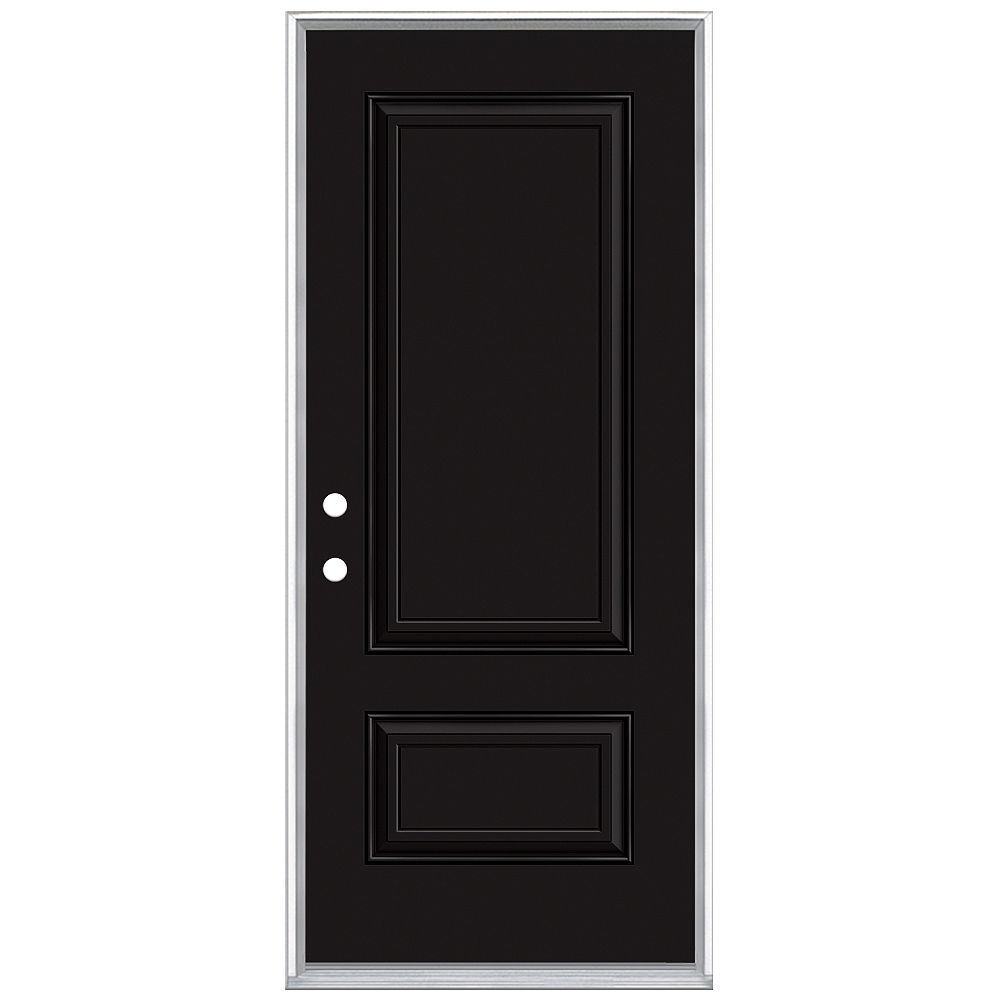 Masonite 32in x 80in 2 Panel Hollister Painted Black Inswing Prehung Steel Right Hand Entry Door