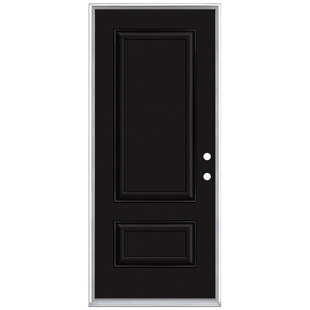 Masonite 34in x 80in 2 Panel Hollister Painted Black Inswing Prehung Steel Left Hand Entry Door