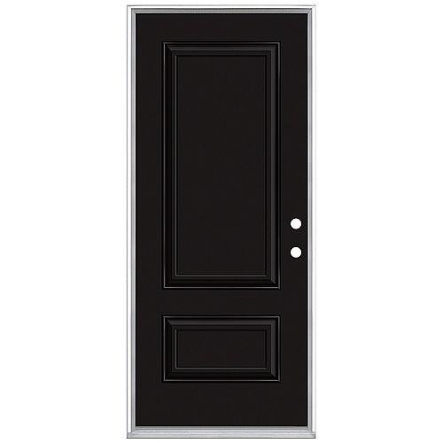 32in x 80in 2 Panel Hollister Painted Black Inswing Prehung Steel Left Hand Entry Door
