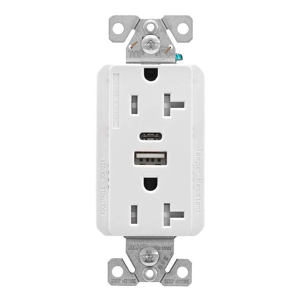 Eaton USB A/C Charger Receptacle 20A White