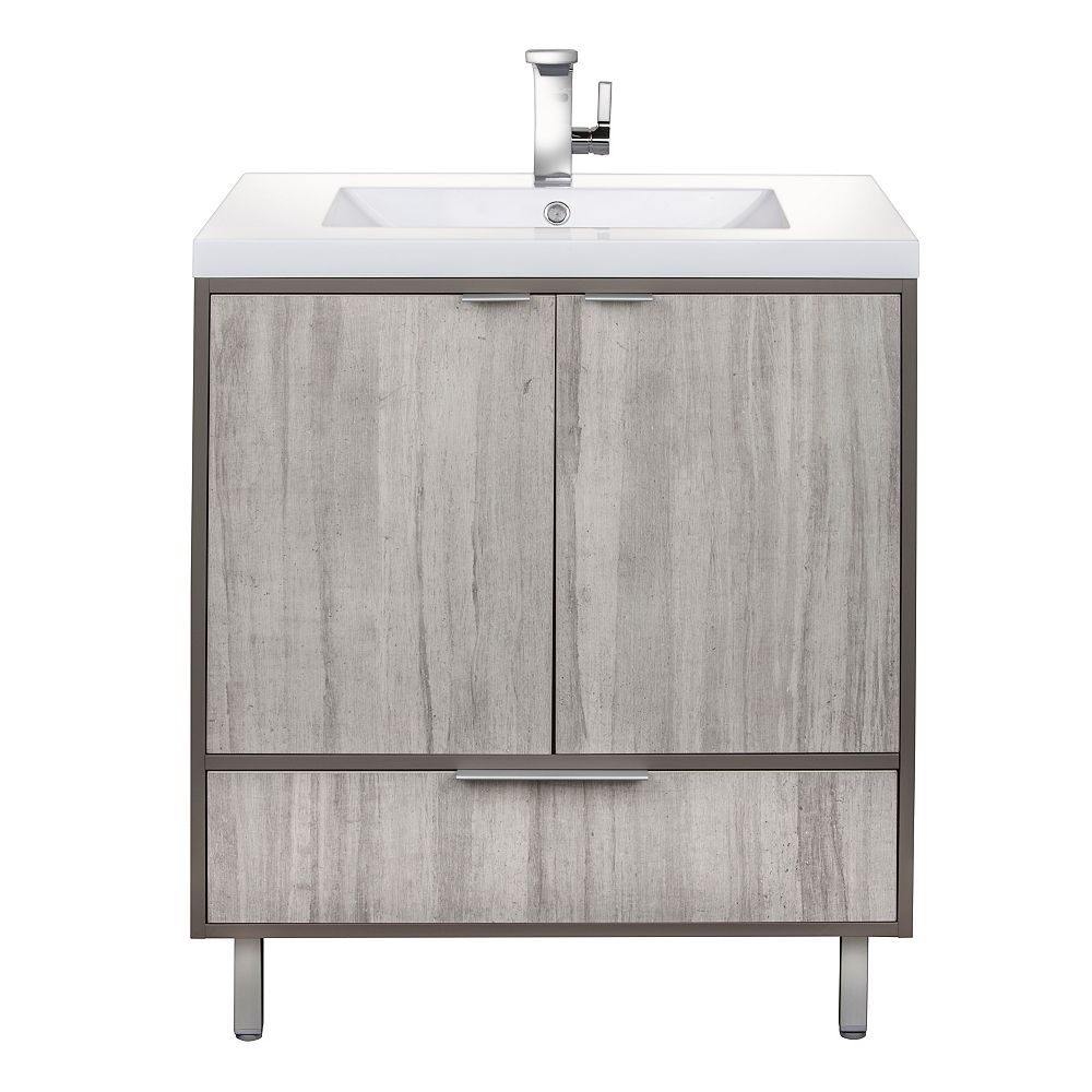 Cutler Kitchen & Bath LONDON 30 inch W x 30 inch H x 21 inch D 2 DR 1 DRW Single Sink Free Standing Vanity SOHO with Rectangle White Basin