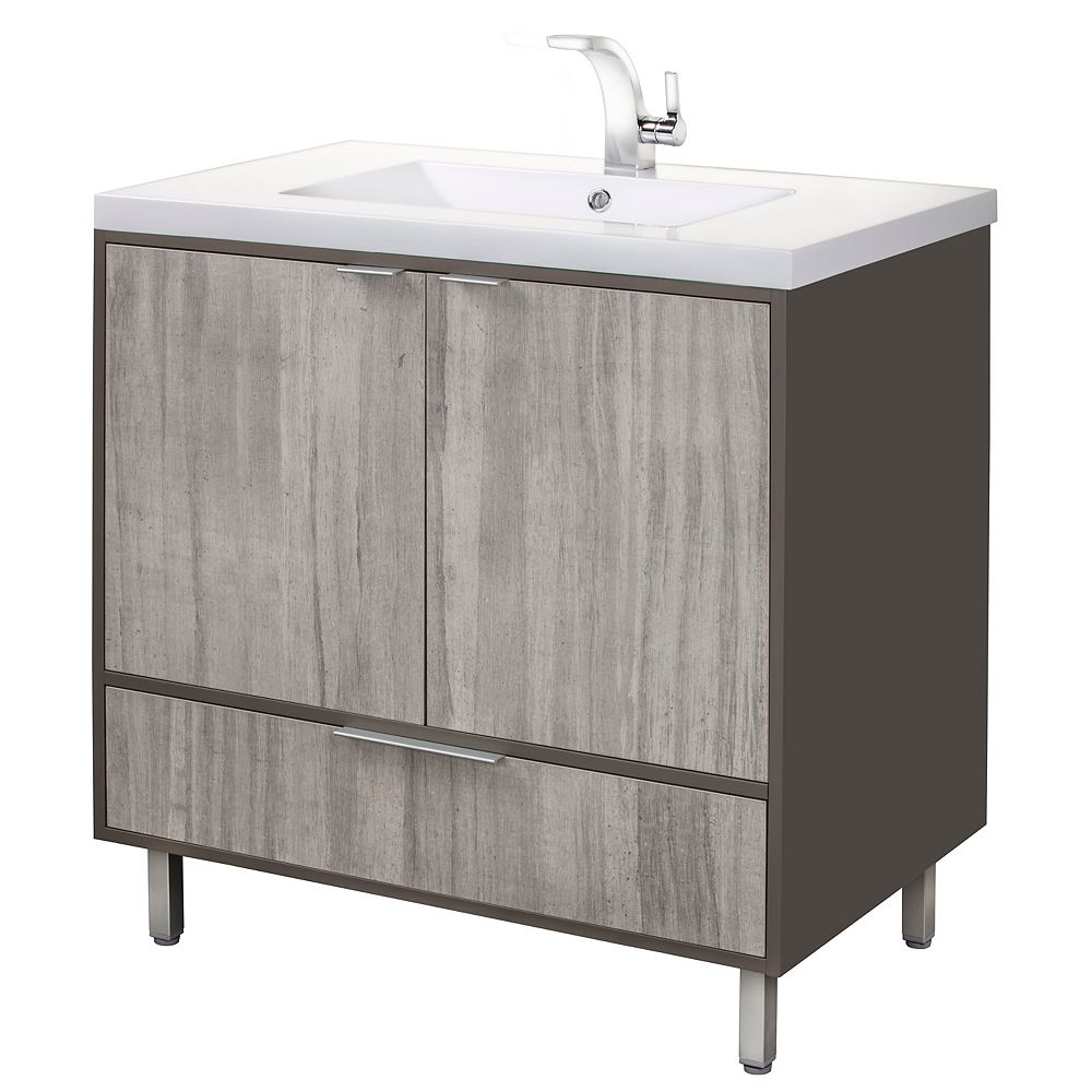 Cutler Kitchen & Bath LONDON 36 inch W x 30 inch H x 21 inch D 2 DR 1 DRW Single Sink Free Standing Vanity SOHO with Rectangle White Basin