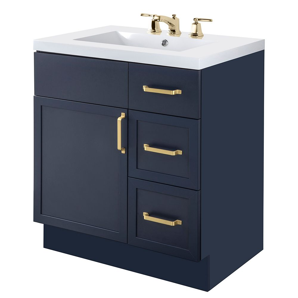 Cutler Kitchen & Bath REGAL 30 inch W x 36 1/2 inch H x 21 inch D 1 DR 3 DRW Single Sink Free Standing Vanity Blue with Rectangle White Basin