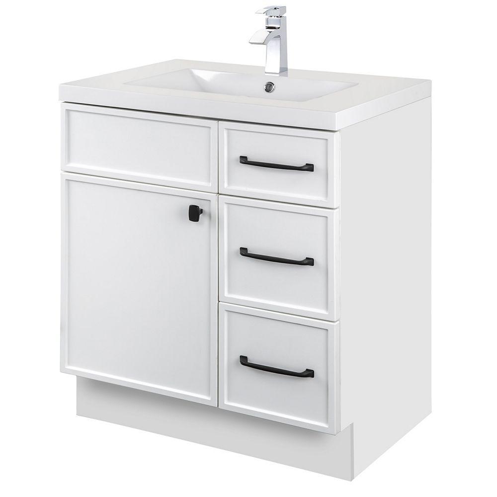 Cutler Kitchen & Bath MANHATTAN 30 inch W x 36 1/2 inch H x 21 inch D 1 DR 3 DRW Single Sink Free Standing Vanity White with Rectangle Basin