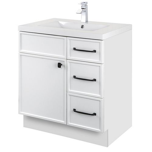 MANHATTAN 30 inch W x 36 1/2 inch H x 21 inch D 1 DR 3 DRW Single Sink Free Standing Vanity White with Rectangle Basin