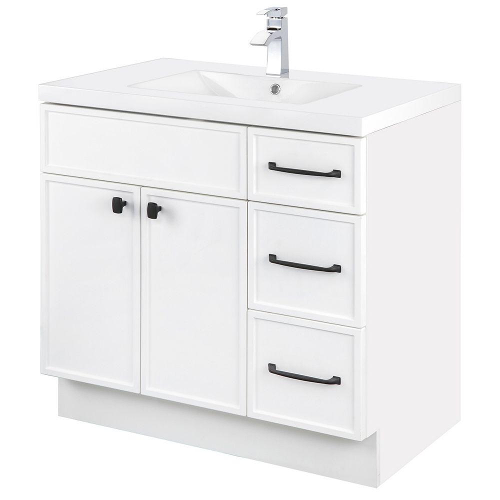 Cutler Kitchen & Bath MANHATTAN 36 inch W x 36 1/2 inch H x 21 inch D 2 DR 3 DRW Single Sink Free Standing Vanity White with Rectangle Basin