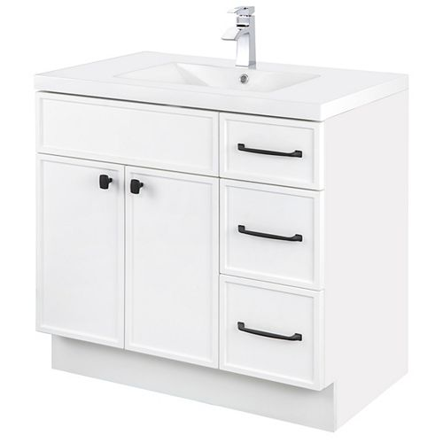 MANHATTAN 36 inch W x 36 1/2 inch H x 21 inch D 2 DR 3 DRW Single Sink Free Standing Vanity White with Rectangle Basin
